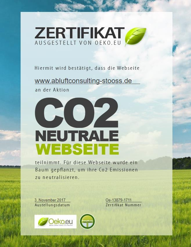 abluftconsulting stooss CO2-neutrale Website